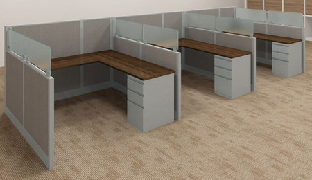 Three Pack Of Express Panel Systems 6' x 6' Multi-Height WorkStations