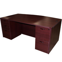 "Cherryman Mahogany Laminate 36"" x 72"" Bow Front Desk With Storage"