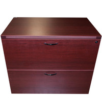"Cherryman Mahogany Laminate 36"" Two Drawer Lateral File"