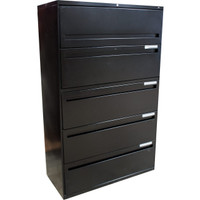"Hon Black Metal 36"" Five Drawer Lateral File"