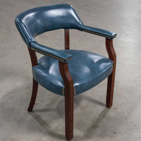 Blue Vinyl Traditional Wood Frame Guest Chair