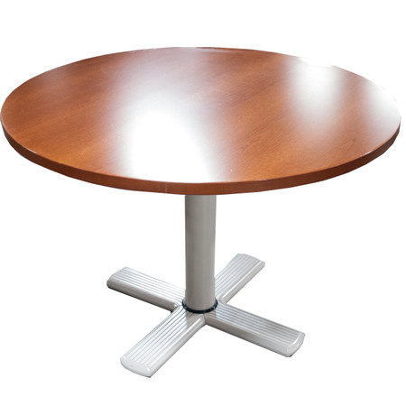 "42"" Round Cherry Veneer Table With Metal Base"