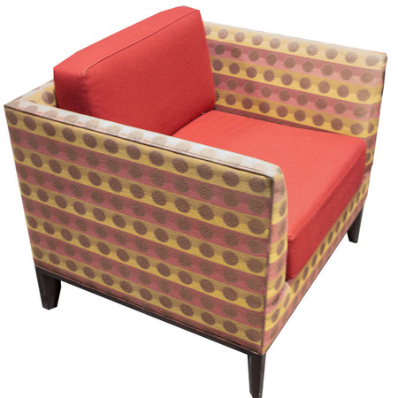 Red And Orange Upholstered Lounge Chair