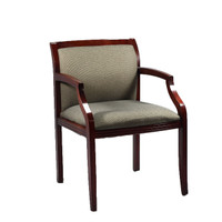 AllSteel Mahogany Wood Light Gray Guest Chair