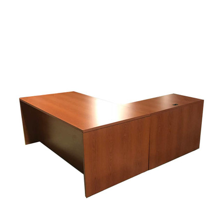 Cherry L-Shape Desk With Box Box File And File FIle