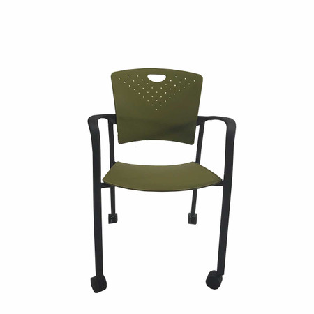 Eutotech Green Stacking Side Chair With Casters N15