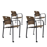 Eurotech Coffee Stacking Side Chair 4-Pack
