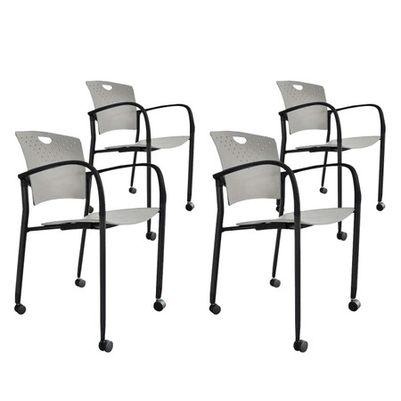 Eurotech Grey Stacking Side Chair 4-Pack