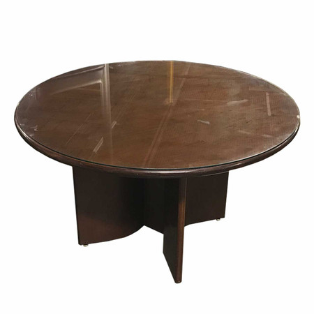 """48"""" Round Cherry Conference Table With Glass Top"""