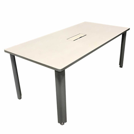 "72"" Gray Training Table With One Data Box"