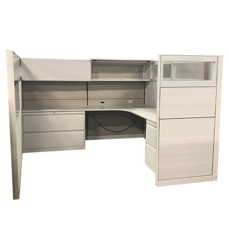 Allsteel Series 8x8 White Upholstered Cubical With Glass, Lateral File, Combo File, Hanging Hut