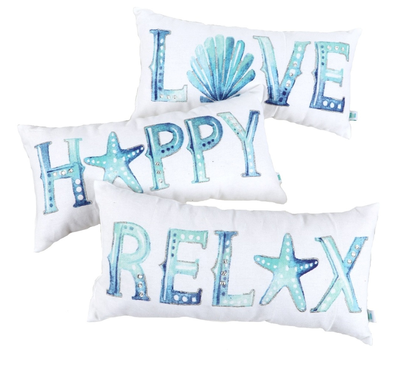 Love Happy Relax Embroidered Watercolor Word Accent Throw