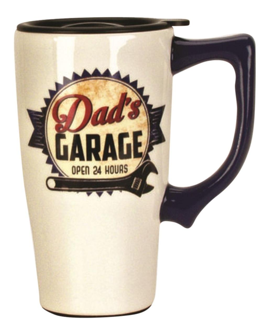 Dads Garage Open 24 Hours Ceramic Travel Mug With Lid 16