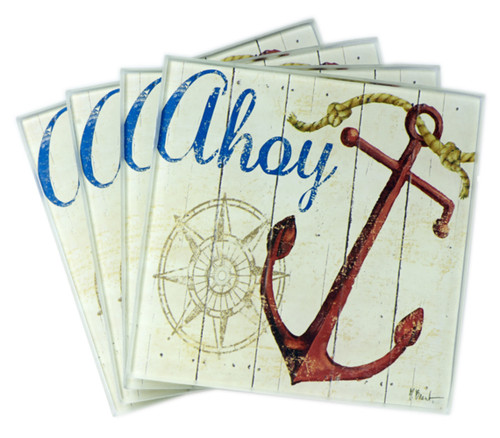 Ahoy Ship Anchor With Nautical Compass Glass Drink Coasters Set of 4