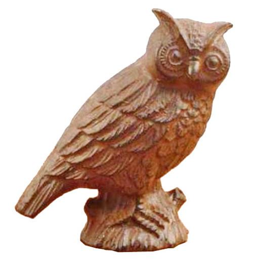 Antiqued Rust Finish Cast Iron 3-D Owl Figurine Tabletop Shelf Decor