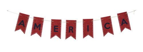 America Patriotic Red and Blue Garland Burlap Appliqued Banner 60 Inches