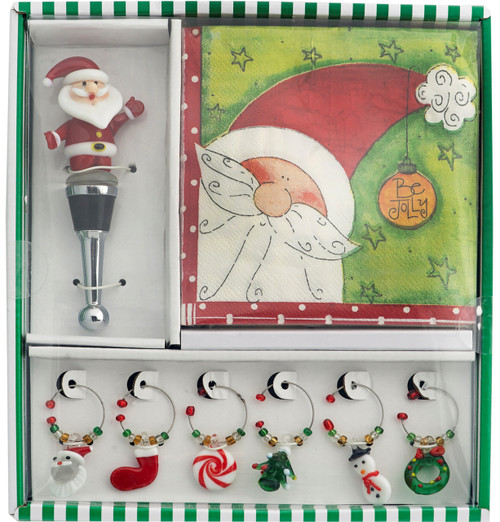 Be Jolly Santa Christmas Holiday Napkins 6 Glass Wine Charms Bottle Stopper Set