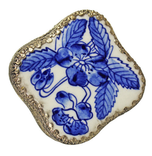 Andrea by Sadek Blue Porcelain Flower Trinket Box 18897A