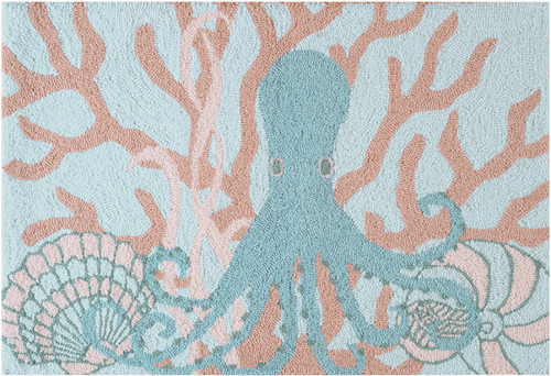 Saltwater Serenity Octopus Coral And Shells Blue Hooked Rug 36 X 24 Inches