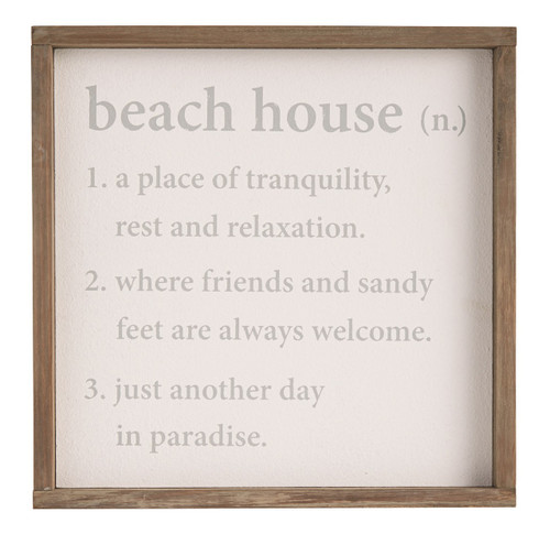 Beach House Definition Tranquility Relax Paradise Wood Wall Plaque Sign 13 Inch