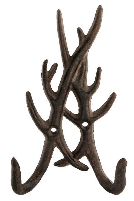 Cast Iron Deer Antlers Wall Hook Hanger Antiqued Brown Finish