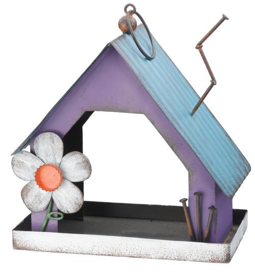 Corrugated Metal Purple House Shaped Bird Feeder 9.75 Inch Garden Decor