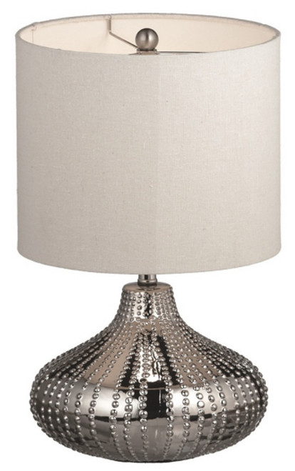 Hobnail Silver Table Lamps Ceramic 17 Inch Set of 2 Midwest CBK