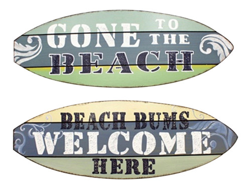 Beach Bums Welcome Gone to Beach Surfboard Shape Wood Wall Sign Plaques Set of 2