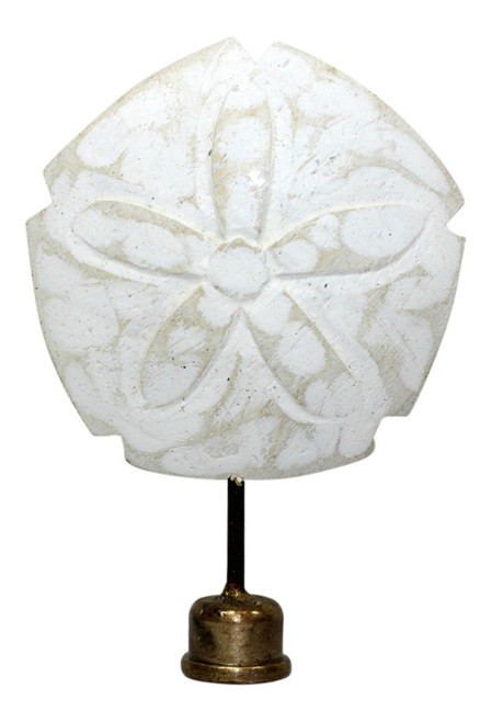 Coastal Sand Dollar Lamp Finial Hand Carved Painted Whitewashed Wood 4 Inch