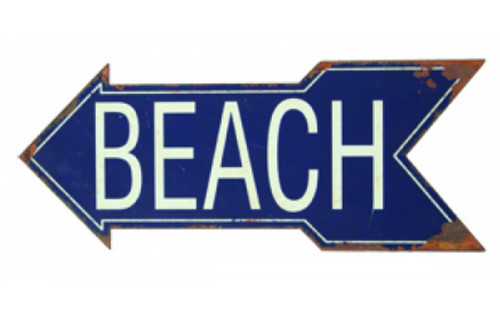 Beach Directional Arrow Tin Sign 18.5 Inch Wall Plaque