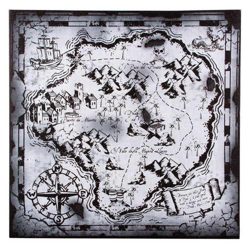 Black and White Pirate Treasure Hunters Map 18 Inch Canvas Wall Decor