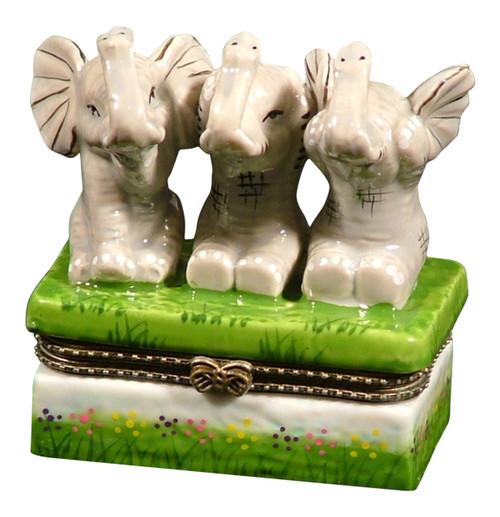 Elephant See No Evil Hear No Speak Trinket Box phb
