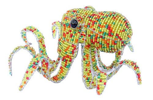 Coastal Sea Life Orange Octopus Glass Beaded Wire Sculpture Beadworkx