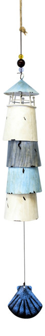 Blue and White Lighthouse Bell Wind Chimes Painted Layered Metal