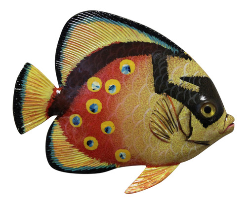 Big 12 Inch Tropical Fish Tiki Sea Life Bath Wall Decor Yellow Orange 12TFW39