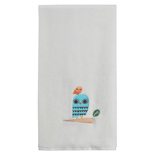 Give a Hoot Cream Whimsical Owls Embroidered Bathroom Bath Towel