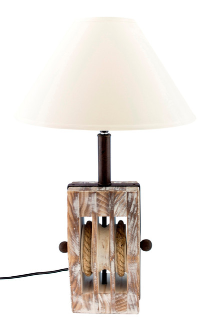 Coastal Trip Pulley Ships Block Wood Desk 40 Watt Table Lamp