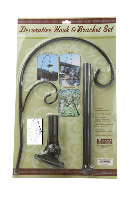 Decorative Black Metal Hook and Bracket Set 100 lb Capacity Toland Home Garden