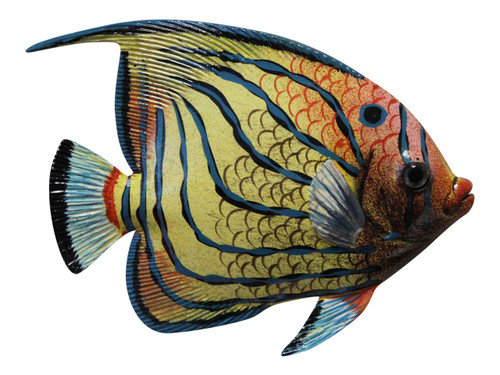 Big 12 Inch Tropical Fish Tiki Sea Life Bath Wall Decor Blue Stripes 12TFW14