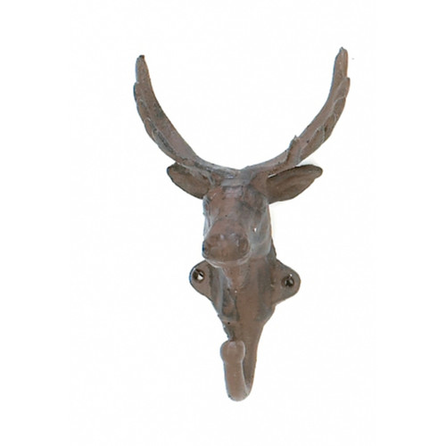 Antiqued Vintage Look Cast Iron Deer Head Hunter Single Hook Wall Decor