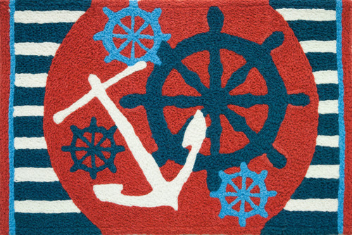 Anchors Away Ships Wheel Nautical Sailing Area Accent 21 X 33 Inch Jellybean Rug