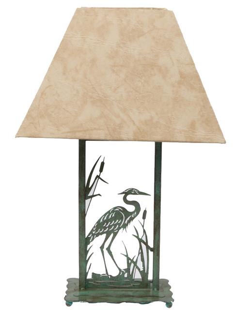 Die Cut Green Patina Heron Bird 21.5 Inch Table Lamp 60 Watt