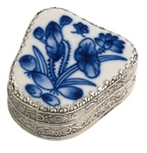 Andrea by Sadek Blue Porcelain Floral Mini Trinket Box 18897F