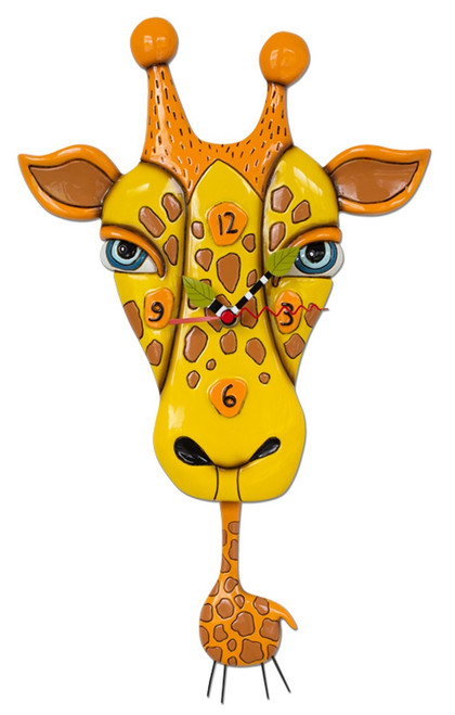 Jaffy the Giraffe Animal Battery Wall Clock with Pendulum
