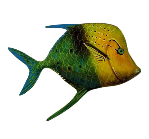 Big 12 Inch Tropical Fish Bath Childrens Wall Decor Green Yellow Fin 12TFW37FIN