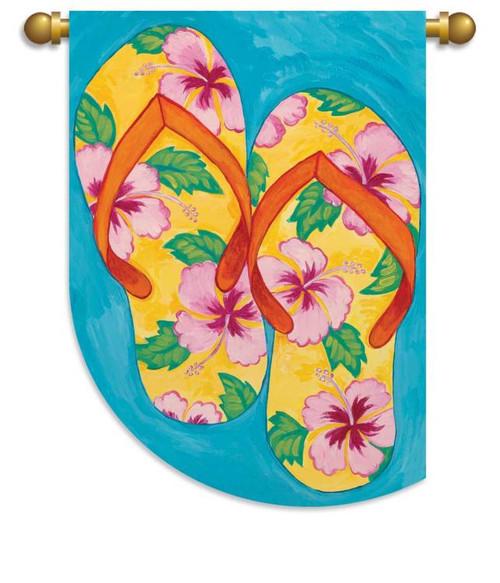 Tropical Hibiscus Floral Flip Flops Garden Flag Banner