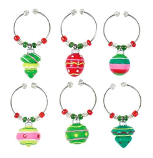 Christmas Winter Holiday Bulbs Ornaments Wine Charm Set of 6