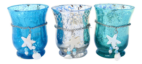 Blue Teal Silver Mercury Glass Hurricane with Shells 6 Inch Set of 3