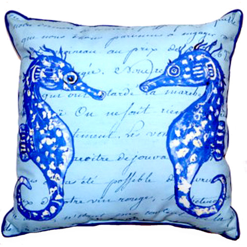 Blue Seahorses with Script Accent Throw Pillow Indoor Outdoor 18 X 18 Inches