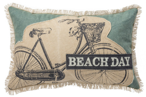 Beach Day Bicycle Ride Accent Throw Pillow 19 Inches Blue and White
